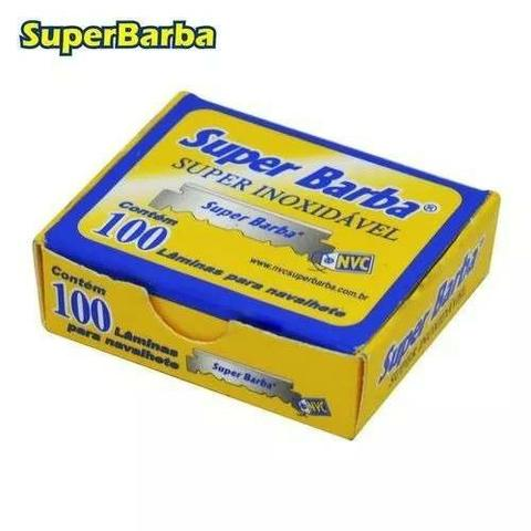Lâmina Inox Barbear 1/2 Super Barba com 100 unidades