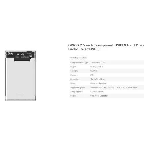 Case Hd/ssd 2.5 Usb 3.0 Orico 2139u3 Original