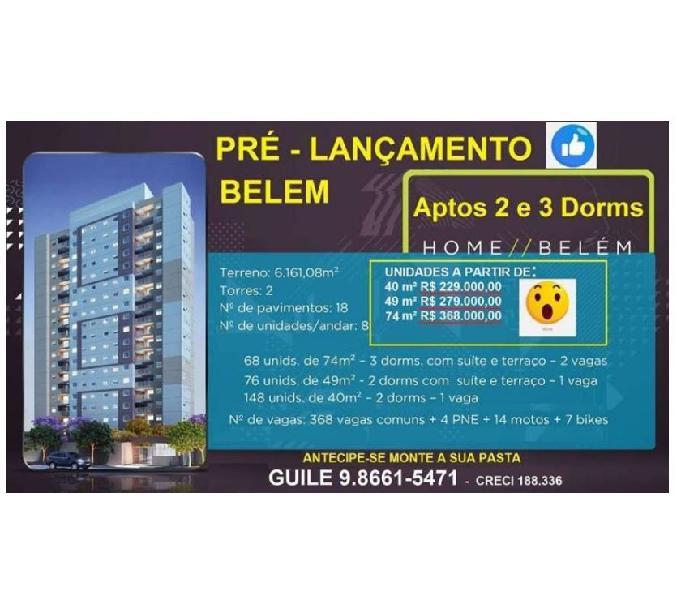 3 Dorms Suíte e terraço 2 Vagas- Metro Belém LANÇAMENTO