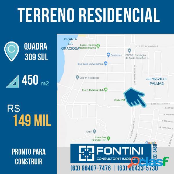 Ótimo terreno residencial na Qd. 309 Sul - 450 m²
