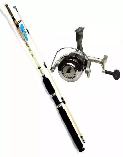 Conjunto Pesca Molinete 5000 Com Vara Pescaria Pesada