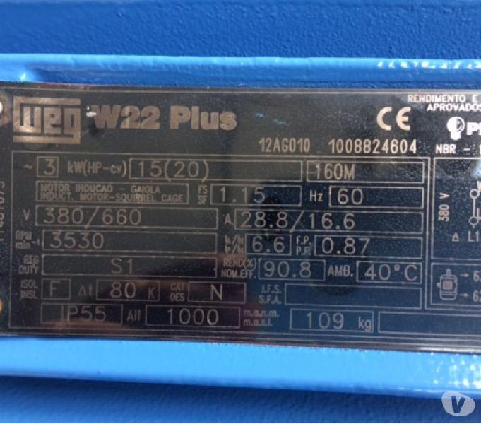 Motor Elétrico W22 Plus Weg 20 Cv 3500 Rpm Trifásico