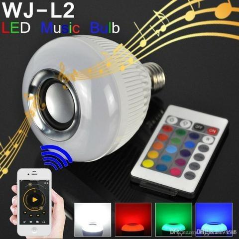 Lâmpada led rgb bulbo controle caixa som remoto música