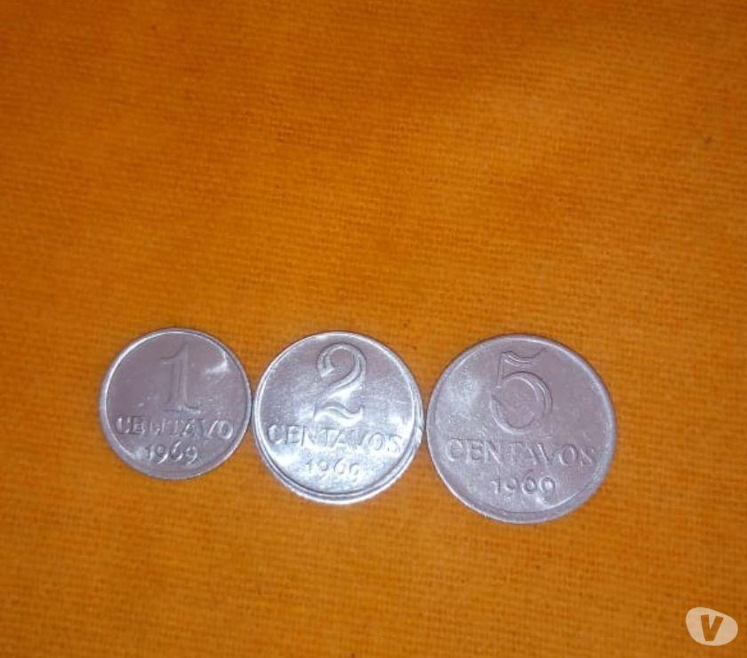 Lote de 03 moedas de 1, 2 e 5 centavos do ano  - Soberba