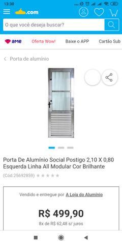 Vendo porta de Alumínio 2.10 x 0.80