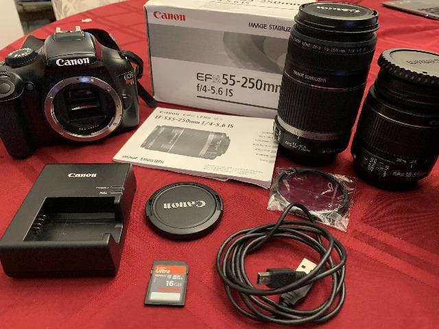 Vendo câmera Canon EoS Rebel T3 + 2 lentes ( e )