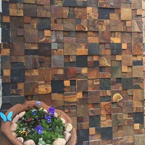 Mosaico de Pedra Ferro Basalto 3D Solto Natural