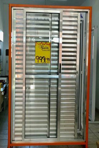Porta balcão 3 folhas alumínio brilhante 2.10x1.20