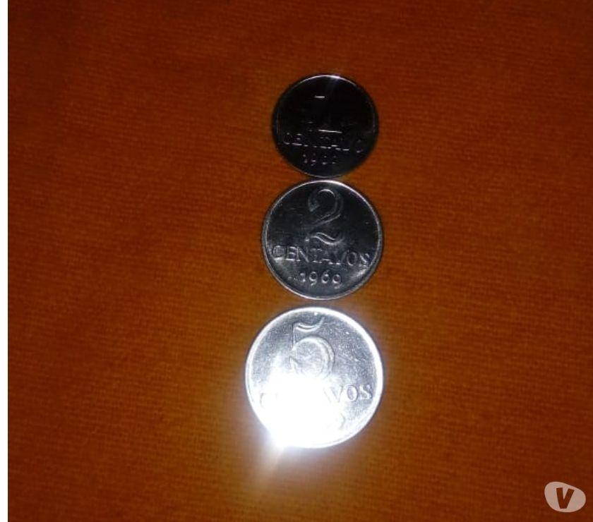 3 Moedas de 1,2,e 5 Centavos de  espelhadas em aço