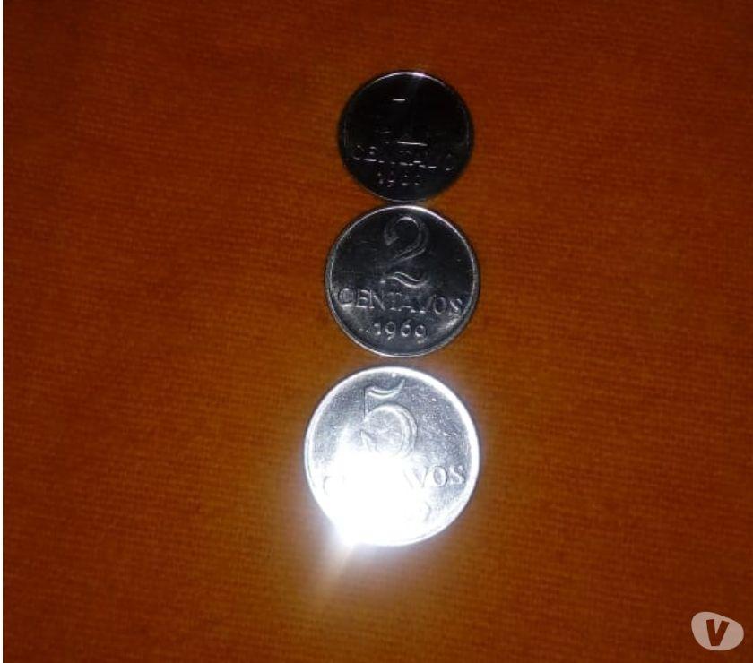 3 Raras Moedas de 1, 2, e 5 Centavos do ano , disco gros