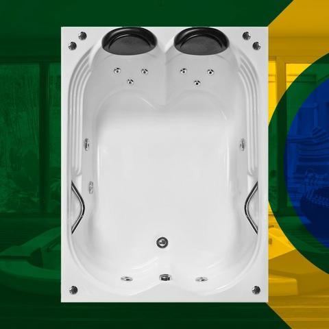 Banheira Dupla Olinda Completa com hidro 1,80x1,20x0,40 Gel