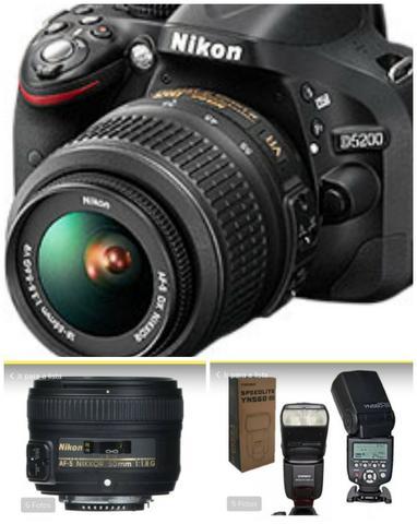 Câmera Nikon D + Lente 50mm + Flash yongnuo