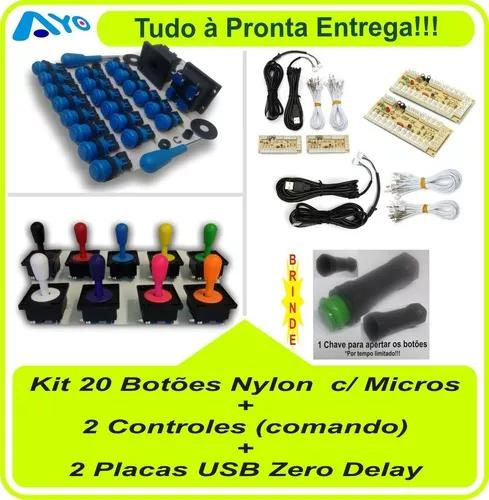 20 Botões Nylon + 2 Controles + 2 Placas Zero Delay +
