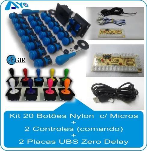 30 Botões + 3 Controles +3 Placas Zero Delay Completos