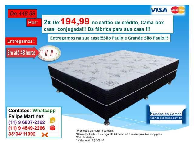 Cama Box Casal conjugada por apenas 2x R$194,99 no cartão