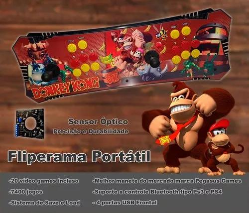 Fliperama Portátil 8600 Jogos, Sensor Óptico, 2 Controles
