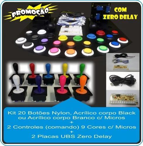 Kit 20 Botões Arcade Ac + 2 Controles + 2 Placas Zero Delay