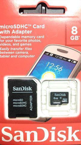 Cartão de memória MICRO SD 8GB e 16GB com Adaptador