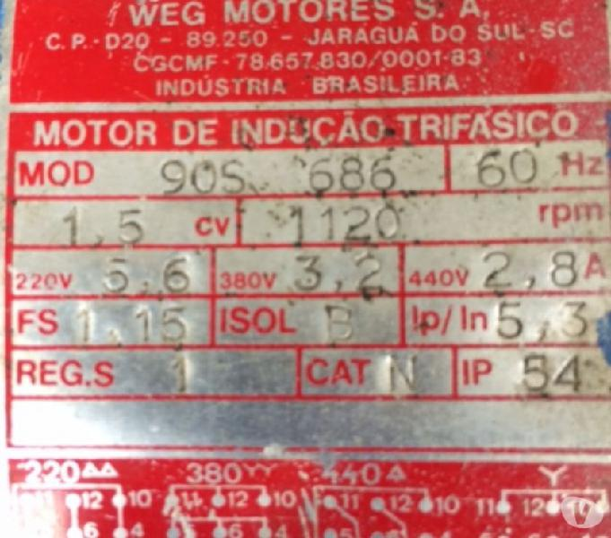Motor Elétrico Weg 1,5 Cv 1120 Rpm (6 pólos) Trifásico