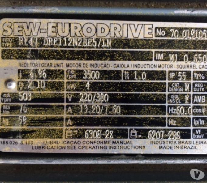 Motoredutor Sew Freio 5,5 Cv R47 * Relação 1 x 7 = 500 Rpm