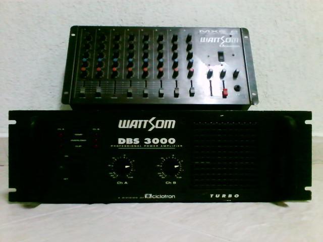amplificador dbs 3000 e mesa de som mxs 8 -WATTSOM em ótimo