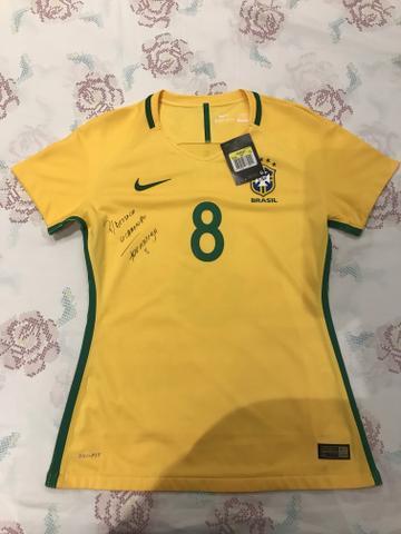 Camisa de Jogo Feminina Seleção Brasileira CBF Autografada