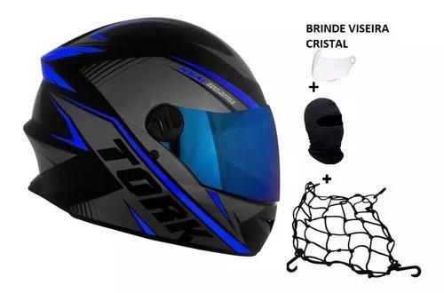 Capacete Moto Tork R8 + Viseira Azul + Rede Elástica *touca