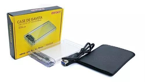 Case Externo Usb 3.0 Para Hd Sata 2.5 Notebook Transparente