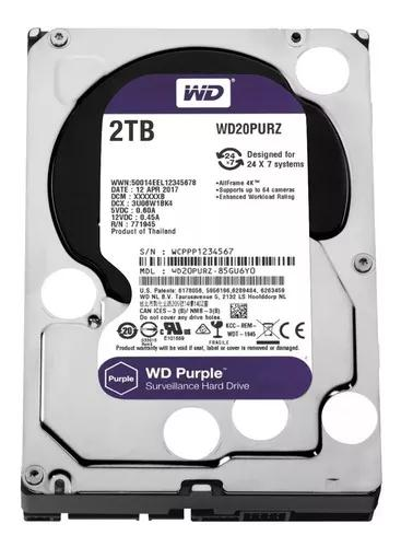 Hd Interno Wd Purple 2tb Sata 6gb/s 5400 Rpm - Dvr Wd20purz