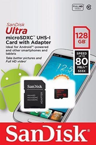 Cartão de memória micro SD 128G Classe 10 Up80 MB\s