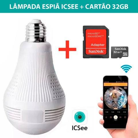 Lâmpada Câmera 360º Espia Ip Wifi Wif Icsee + Cartão