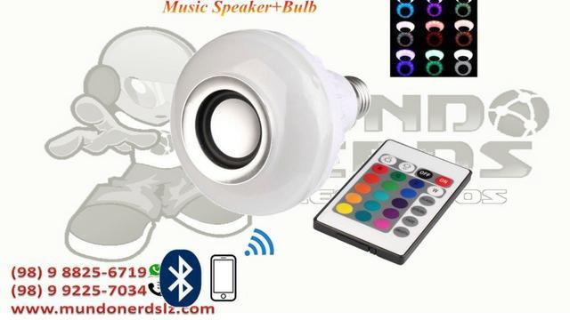 Lâmpada Led 6w Rgb Caixa Som Bluetooth 2 Em 1 Mp3 Music
