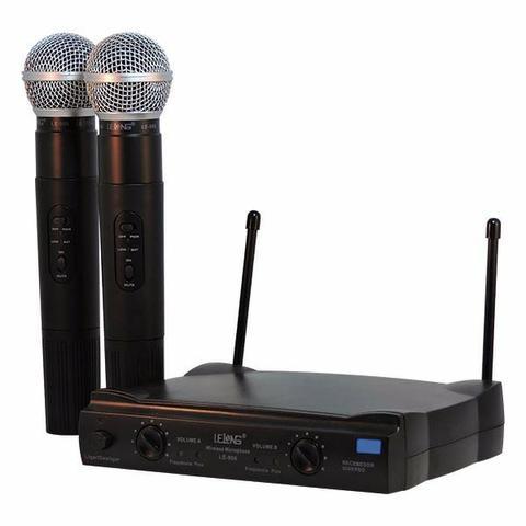 Microfone Profissional Duplo Lelong Le-906 Sem Fio Hifi