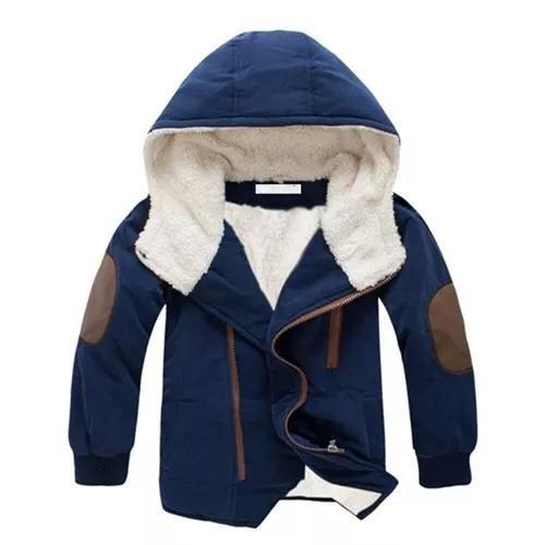 Jaqueta Casaco Criança Frio Capuz Infantil Corta Vento Azul