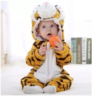Macacão Infantil Criança Pijama Pelúcia Tigre Capuz