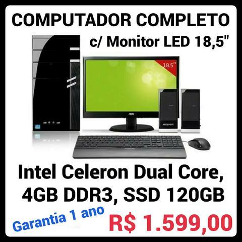 """COMPUTADOR Novo com Monitor LED 18,5"""", Intel Dual Core, SSD"""