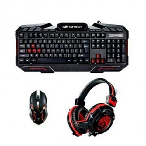 Kit Teclado, Mouse USB e Fone Gamer Combo GK-100BK C3T