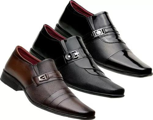 3 Pares De Sapato Verniz Social Masculino Conforto A
