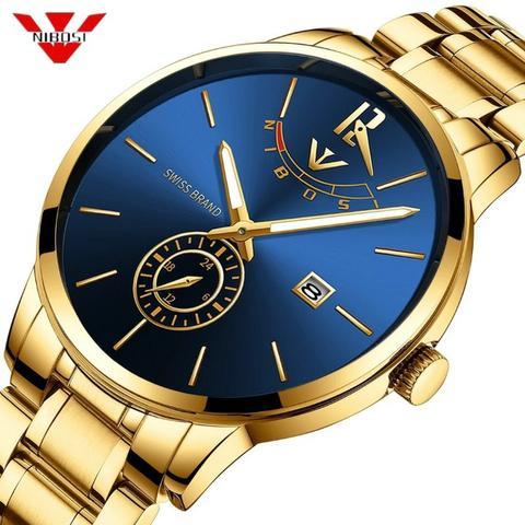 Relógio Masculino Nibosi  Original Dourado Fundo Azul