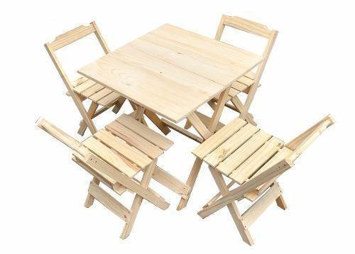 Jogo de mesa de madeira 70x70cm com 4 cadeiras dobraveis