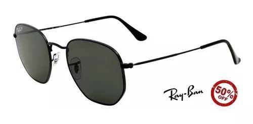 Oculos De Sol Ray-ban Hexagonal Preto Masculino Promoção