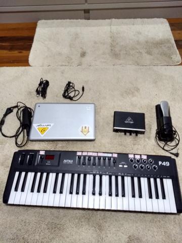 Controlador Midi/notebook/interface de áudio setup de