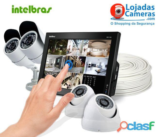 Kit CFTV Completo 04 Câmeras de Segurança Intelbras DVR 4