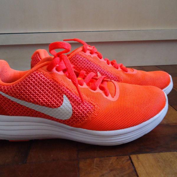 tenis laranja corrida nike revolution3 tamanho 35 seminovo