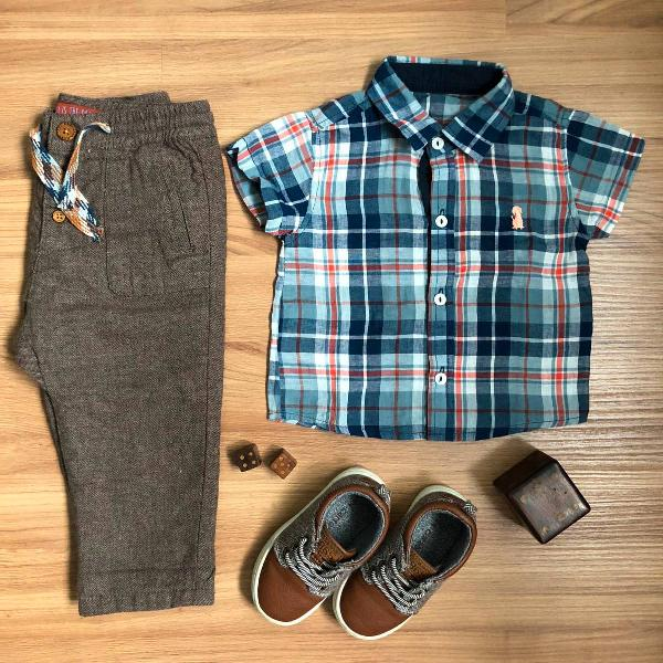 camisa xadrez mangas curtas