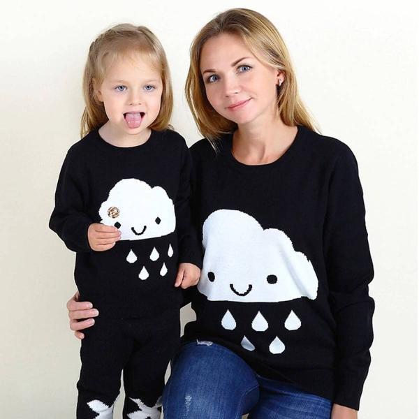 chuva de amor! 2 malhas de lã núvem/ mãe e filha