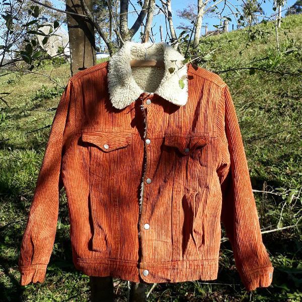 jaqueta cotelê com forro de lã