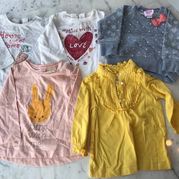 kit camisetas e moletom menina 6 meses