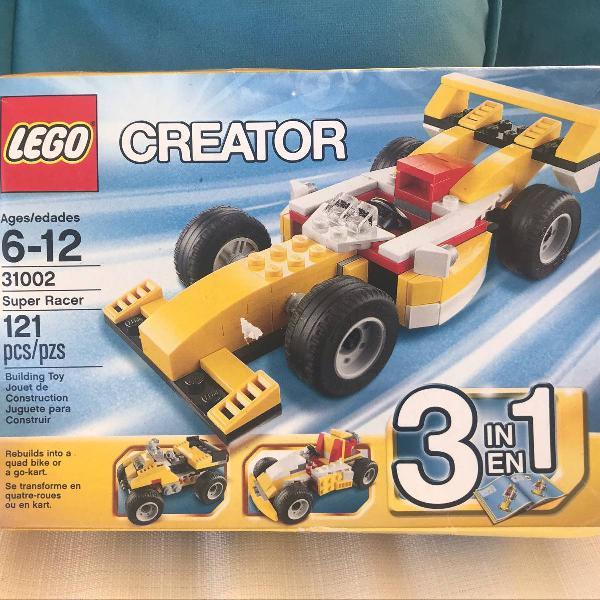 lego creator 3 em 1, carro fórmula 1,quadriciclo e kart