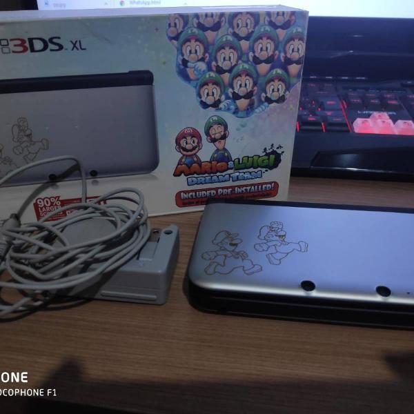 nintendo 3ds xl, versão mario e luigi dream team + 5 jogos